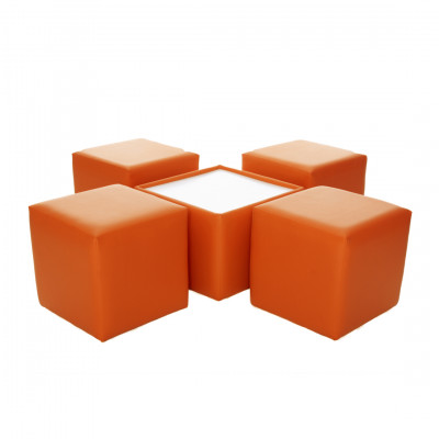 Leather Square Coffee Table - Orange