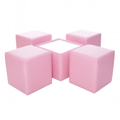 Leather Square Coffee Table - Baby Pink