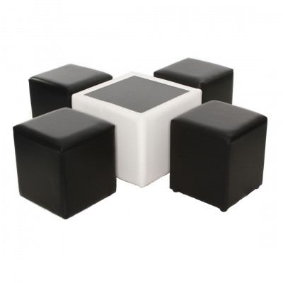 Leather Square Coffee Table - White