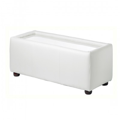 White Leather Rectangle Coffee Table