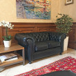 Black Leather Chesterfield 2 Seat Sofa