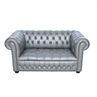 Silver Chesterfield Inspired 2 Seat Sofa