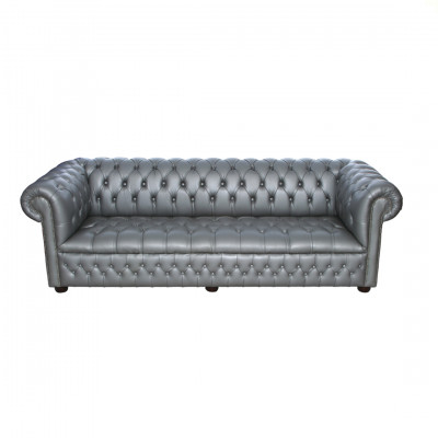 Silver Chesterfield Inspired 3 Seat Sofa