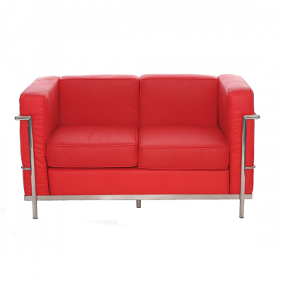 Red Corbusier 2 Seat Inspired Sofa
