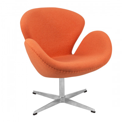 Orange Fabric Swan Inspired Chair