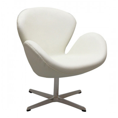 White Leather Swan Inspired Armchair