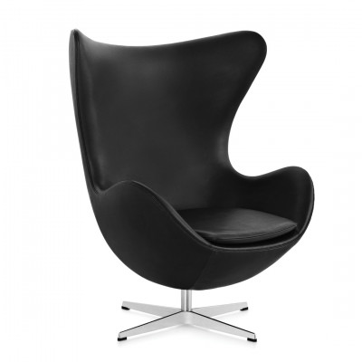 Black Leather Egg Inspired Chair