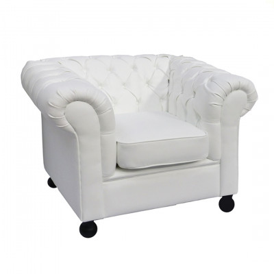White Chesterfield Inspired Armchair