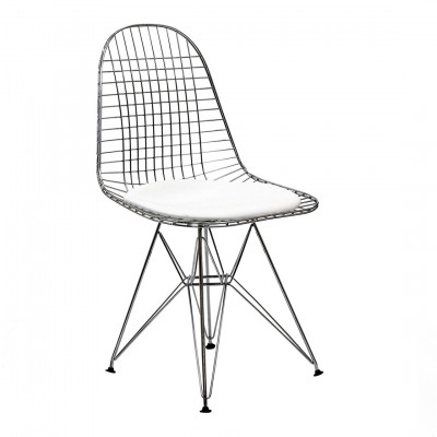 Eames Inspired Wire Chair White seat