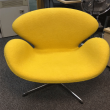 Yellow Fabric Swan Reproduction Chair