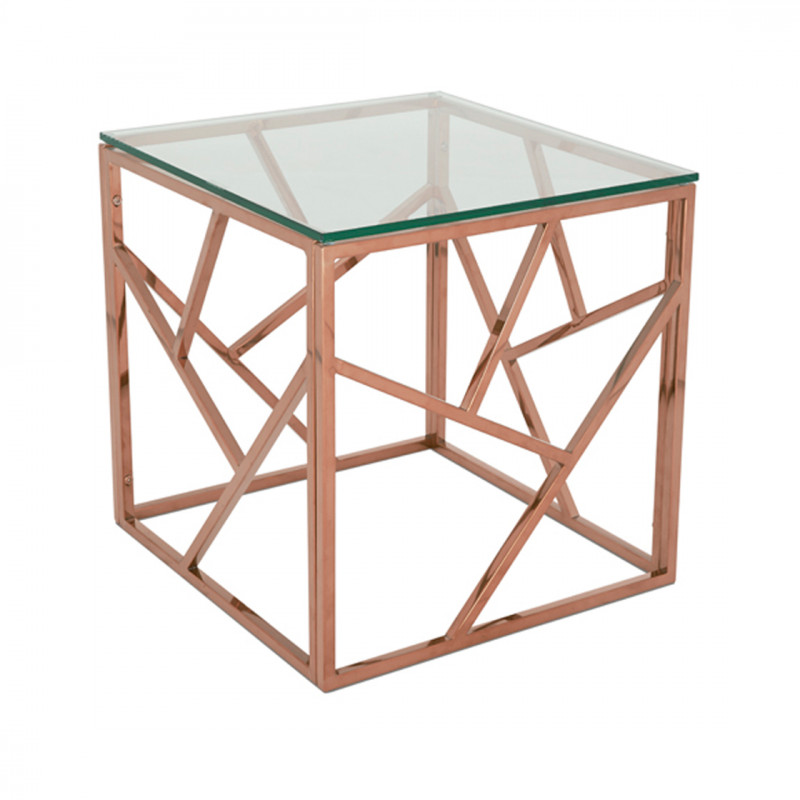 Rose Gold Malibu Square Coffee Table Funky Furniture Hire