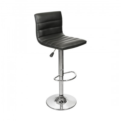 Ribble Black Leather Bar Stool