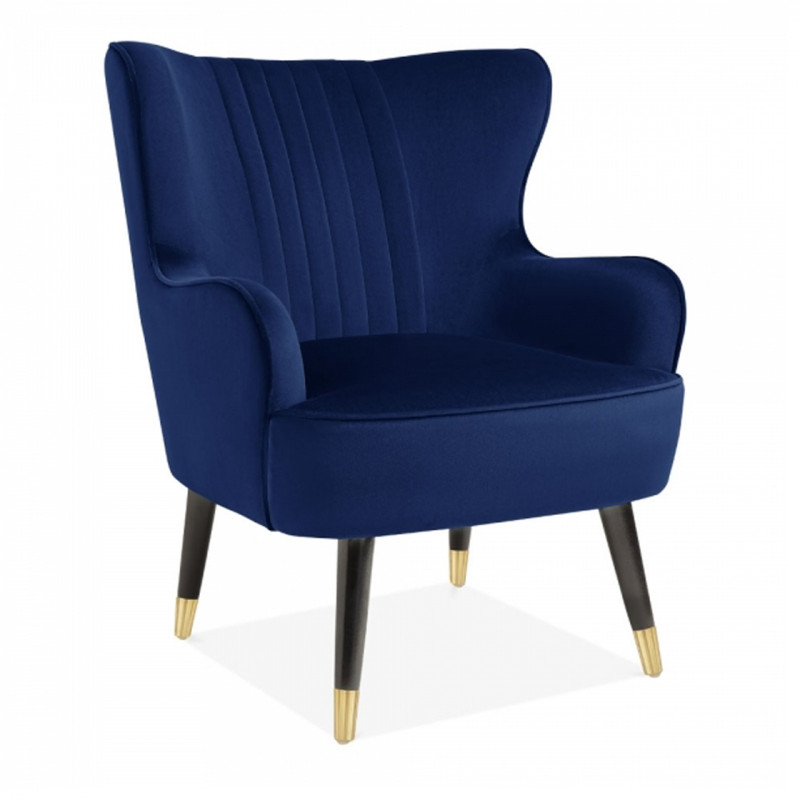 Cosmo Velvet Wingback Chair In Royal Blue Wingback Chair