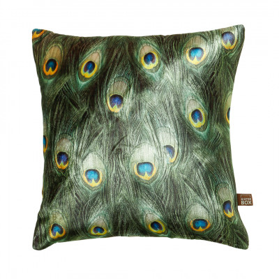 Peacock print cushion