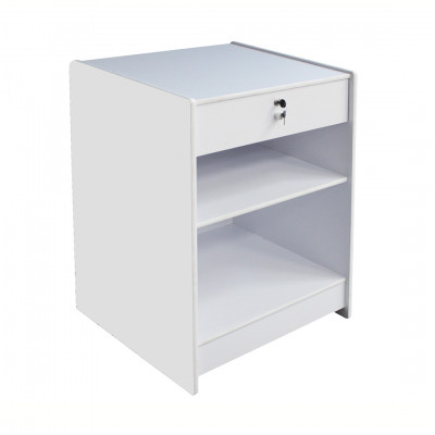 White Counter with Lockable Drawer