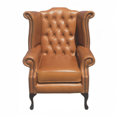 Tan Leather Wingback Armchair