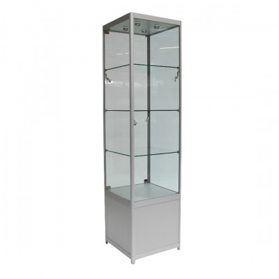 Glass Tallboy Exhibition Cabinet with Storage